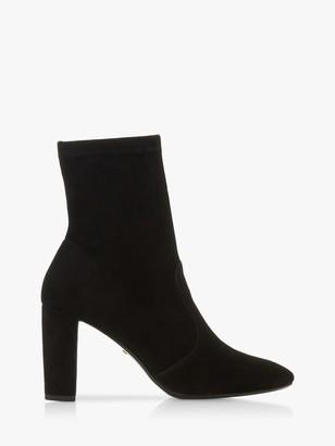 Dune Optical Suede Block Heel Sock Boots, Black
