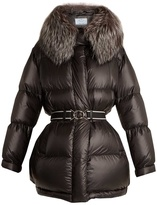 Prada Fur-trimmed quilted-nylon hooded coat