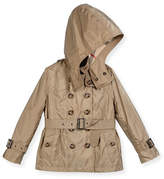 Burberry Shiny Grangemoore Hooded Trenchcoat, Sisal, Size 4-14