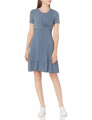 Lark & Ro Women's Short Sleeve Twist Front Fit and Flare Dress