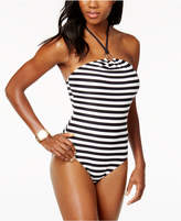 MICHAEL Michael Kors High-Neck Logo-Ring One-Piece Swimsuit