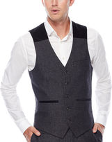 Asstd National Brand WD.NY Charcoal Twill Suit Vest - Slim Fit