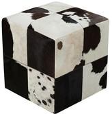 Surya Leather Pouf Cube Ottoman