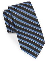 Black Brown 1826 Double Striped Silk Tie