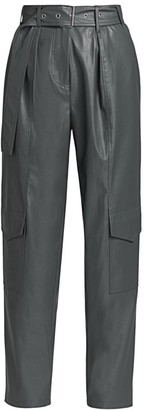Tanya Taylor Megan Faux-Leather High-Rise Pants