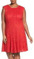 Chetta B Plus Size Women's Sparkle Lace Fit & Flare Dress