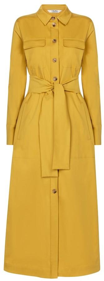 S Max Mara Zinco belted stretch-cotton midi dress