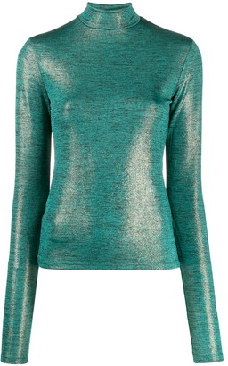 Andamane Beth metallic slim-fit top