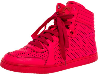 Gucci Neon Pink Leather Interlocking G High Top Sneakers Size 36.5