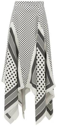 Altuzarra Boom Godet-hem Polka-dot Silk-satin Midi Skirt - White Black