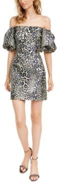 Aidan Mattox Off-The-Shoulder Animal-Print Jacquard Dress