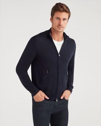 7 For All Mankind Merino Wool Zip Cardigan in Midnight Navy