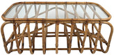 One Kings Lane Vintage Architectural Bamboo Coffee Table - Tobe Reed - brown/clear
