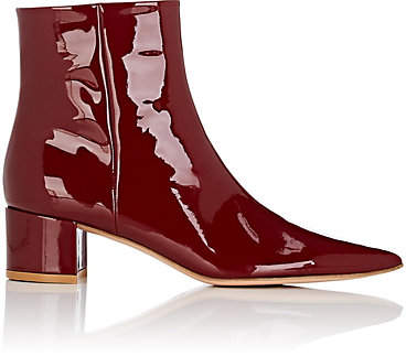 bbe429e7085 Women's Block-Heel Patent Leather Ankle Boots - Wine