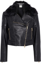 Stella McCartney Kate Faux Fur-trimmed Quilted Faux Leather Biker Jacket