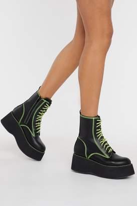 Nasty Gal Womens Good Form Platform Neon Boots - black - 3