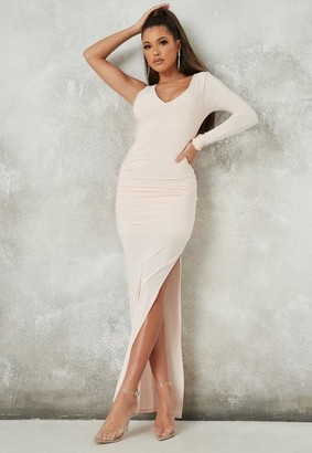 Missguided Peach One Shoulder Seam Detail Maxi Dress
