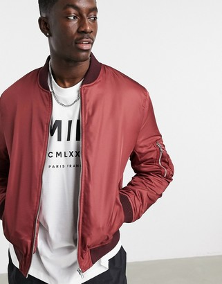 ASOS DESIGN quilted bomber jacket with MA1 pocket in burgundy