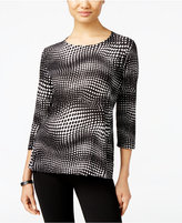 JM Collection Embellished Printed Jacquard Top, Only at Macy's