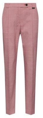 HUGO BOSS Regular-fit cropped trousers in Glen-check stretch fabric