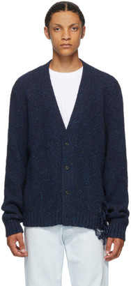 Maison Margiela Navy Destroyed Hem Cardigan