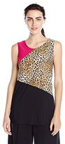 Star Vixen Women's Sleeveless Tricolor Print and Solid Ity Knit Top