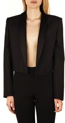 Saint Laurent Black Cropped Tuxedo Jacket In Wool Gabardine And Silk