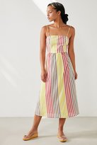 Cooperative Square-Neck Striped Midi Dress