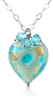 Murano House of Vortice - Turquoise Glass Swirling Heart Sterling Silver Necklace