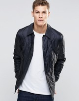 Asos Quilted Jacket In Ripstop Fabric In Black