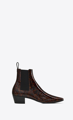 Saint Laurent Dylan Chelsea Boots In Tortoiseshell Patent Leather Natural 11