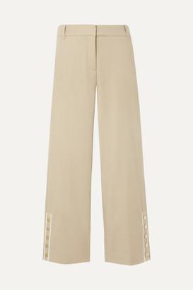 Veronica Beard Martin Cropped Grosgrain-trimmed Linen-blend Flared Pants - Beige