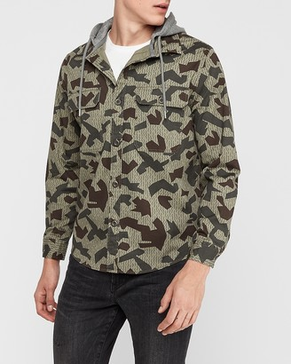 Express Camo Hooded Shirt Jacket