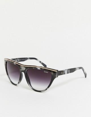 Quay Flight Risk sunglasses in black and white tortoiseshell
