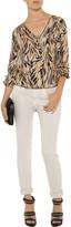 Chelsea Flower Draped tiger-print silk-georgette blouse