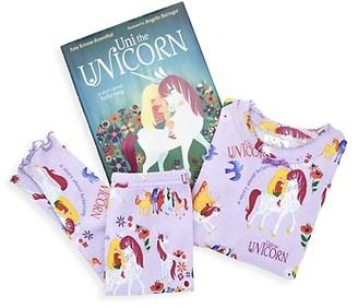 Books to Bed Little Girl's Uni The Unicorn 3-Piece Cotton Pajama & Book Set