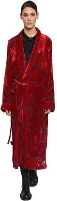 Ann Demeulemeester Long Belted Velvet Jacquard Coat