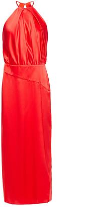 Mason by Michelle Mason Pleated Silk-charmeuse Halterneck Midi Dress