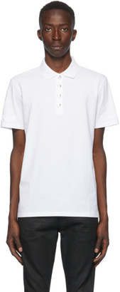 Balmain White Embossed Logo Sleeve Polo