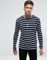 Pull&Bear Extra Fine Striped Sweater In Navy And White