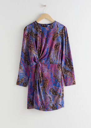 And other stories Twist Knot Printed Mini Dress