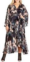 City Chic Plus Size Women's Dark Palm Wrap Maxi Dress