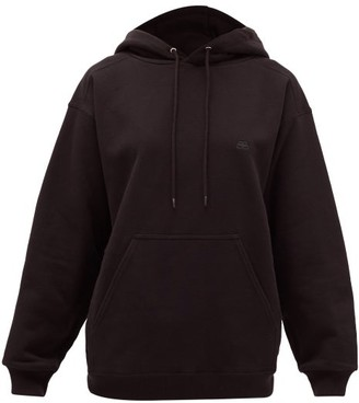 Balenciaga Bb-embroidered Cotton Hooded Sweatshirt - Black