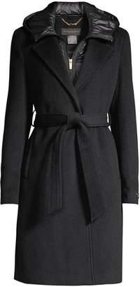 Donna Karan Wool-Blend Wrap Coat