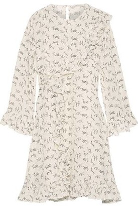 Mes Demoiselles Frimeuse Ruffled Printed Silk Crepe De Chine Mini Dress