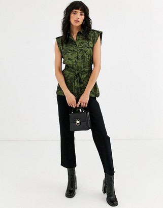 Topshop utility shirt with belt in landscape print-Green