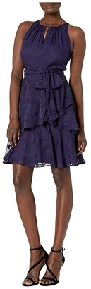Tahari ASL Ruch Neck Dress w/ Tiered Skirt (Navy) Women's Dress