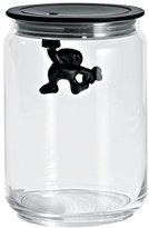 Alessi A Di Glass Gianni Jar A Little Man Holding On Tight Medium Kitchen Box with Hermetic Lid in Thermoplastic Resin, Black