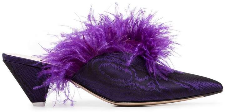 ATTICO purple Cara 45 feather embellished moiré mules