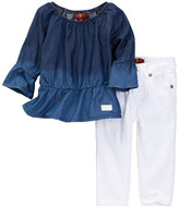 7 For All Mankind Ruffle Top & Skinny Jean 2-Piece Set (Baby Girls)